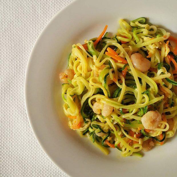 Receta Espaguetis de calabacín con gambas